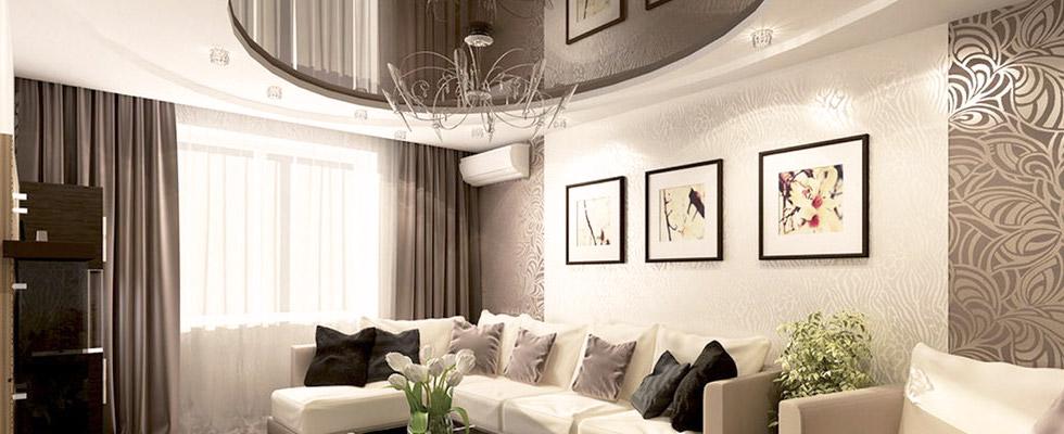 натяжные потолки дизайн в зале фото