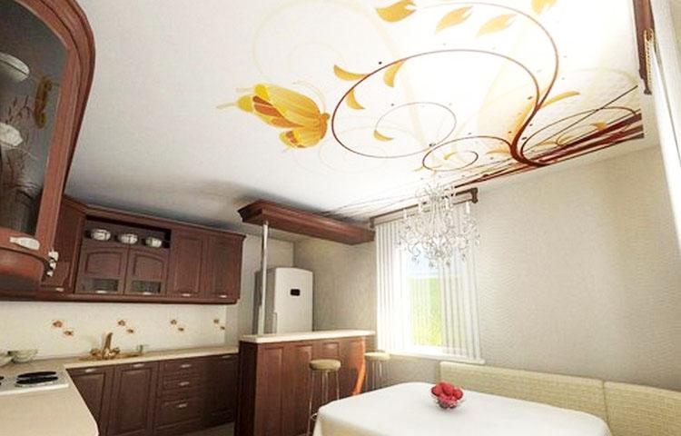 Фотопечать натяжные потолки на кухне дизайн